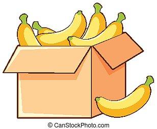 fond, boîte, blanc, bananes