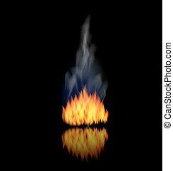 fond, brûler, réaliste, flamme, fumée, noir