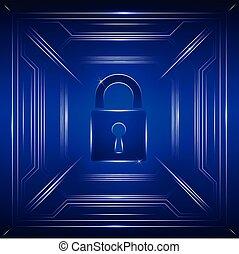 fond, cadenas, sécurité, fermé, numérique, concept: