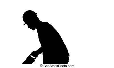 fond, cadre, ouvrier, main, coupures, scie