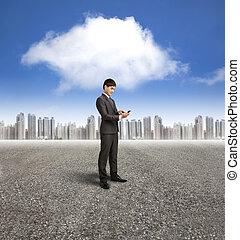 fond, calculer, téléphone, nuage, tenue, homme affaires, intelligent