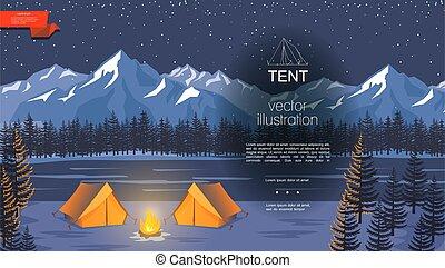 fond, camping, nuit, plat