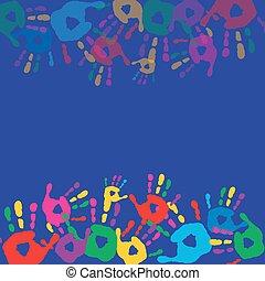 fond, carte postale, bleu, coloré, handprints