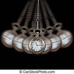 fond, chaîne, montre, poche, noir, oscillation