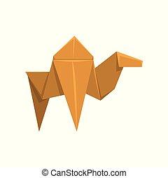 fond, chameau, illustration, papier, vecteur, animal, origami, blanc