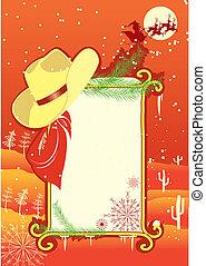 fond, christmasn, panneau affichage, vecteur, cow-boy, cadre, hat.