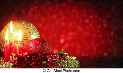 fond, chute neige, boucle, décorations, noël, rouges