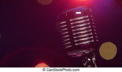 fond, clignotant, microphone, sombre, lumières, clair, contre, flou, vendange