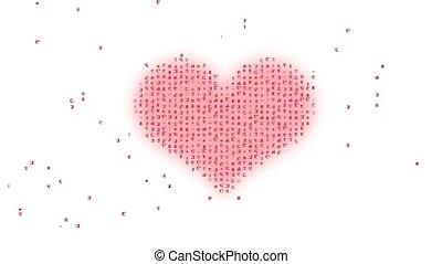 fond, code binaire, coeur, blanc, résumé, rouges