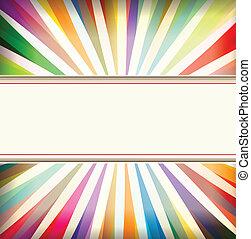fond, coloré, éclater, vendange, retro, gabarit, soleil