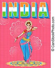 fond, coloré, danse, danseur, projection, inde, culture, indien, femme