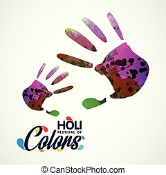 fond, coloré, festival., typographie, créatif, handprints, holi, blanc, avoir, heureux