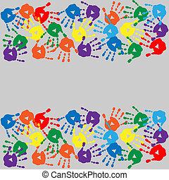 fond, coloré, handprints