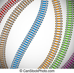 fond, coloré, rails