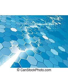 fond, concept, électrique, hexagone