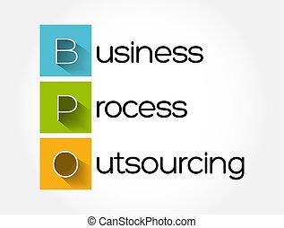 fond, concept affaires, processus, -, outsourcing, acronyme, bpo