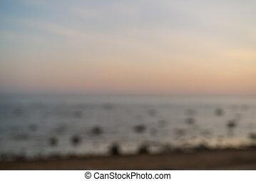 fond, coucher soleil, pendant, plage, brouillé