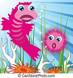 fond, créatures mer
