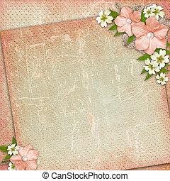 fond, dentelle, fleur, vendange, composition