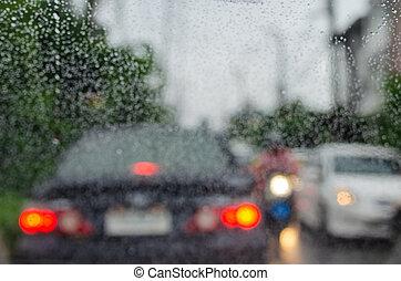 fond, embouteillage, barbouillage, gouttes pluie