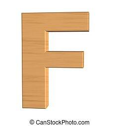 fond, f, isolé, bois, lettre, nouveau, blanc