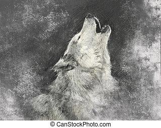 fond, fait main, gris, illustration, loup