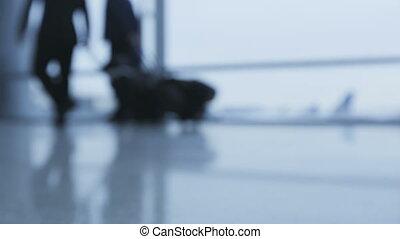 fond, fenêtre., quelques-uns, marche, lent, bas, vidéo, passagers, luggage., aéroport, voler, gens, mouvement, porter, voyageurs, terminal., aller, section