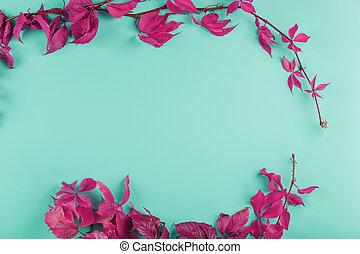 fond, feuilles, lierre, gratuite, space., rouges, automne, bleu