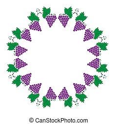 fond, feuilles, vigne, illustration, raisins, blanc, cadre