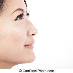 fond, fin, isolé, figure, blanc, femme, beauté, haut, asiatique