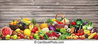 fond, fruits, légumes