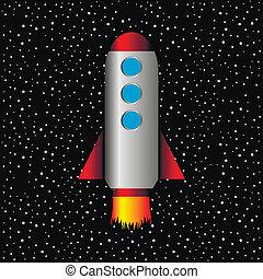 fond, fusée, étoiles, espace