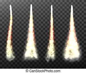 fond, fusée, transparent, fumée, espace, isolé