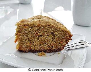 fond, gâteau, blanc, table, carotte, isolé, savoureux, servi, plaque, sans gluten