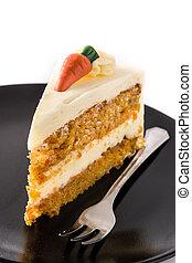 fond, gâteau, doux, couper, carotte, blanc, isolé, plaque