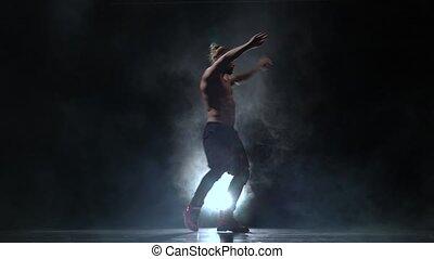 fond, haut, dance., danses, fumée noire, pompé, sexy, type