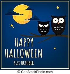 fond, heureux, mignon, branche, halloween, text., arbre, hiboux
