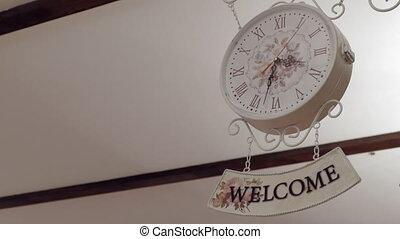 fond, horloge, signe, accueil