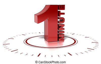 fond, horloge, texte, sur, là, -, brouillé, 1, écrit, minute, mots, reflet, blanc, symbole, rouges, 3d