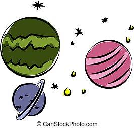 fond, illustration, espace, vecteur, planètes, blanc