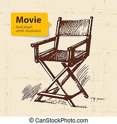 fond, illustration., film, croquis, main, dessiné