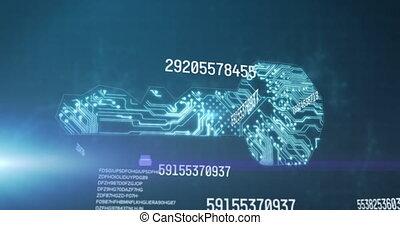 fond, incandescent, animation, sur, bleu, informatique, nombres, planche, traitement, circuit
