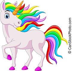 fond, isolé, blanc, dessin animé, arc-en-ciel, licorne, cheval