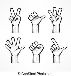fond, isolé, gestes, mains humaines, blanc