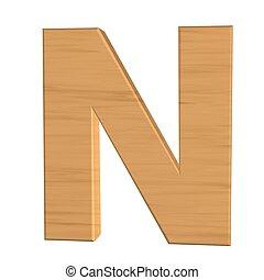 fond, isolé, n, bois, lettre, nouveau, blanc