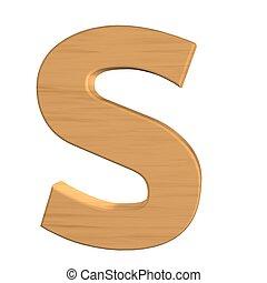 fond, isolé, s, bois, lettre, nouveau, blanc