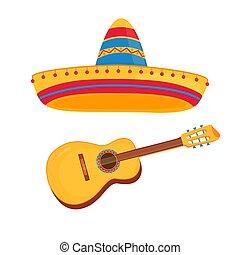 fond, isolé, vecteur, mexicain, blanc, sombrero, guitare, illustration