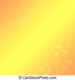 fond, jaune-orange, conception, bokeh, étoiles