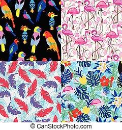 fond, jungle, flamant rose, seamless, toucan, oiseau, perroquet, flowers., modèle