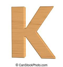 fond, k, isolé, bois, lettre, nouveau, blanc